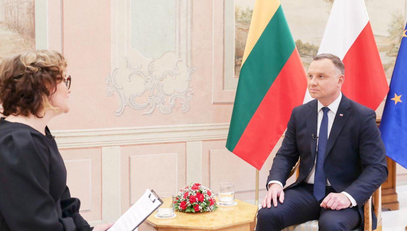 Andrzej Duda udzielił wywiadu litewskiej telewizji (fot. Marek Borawski/KPRP)