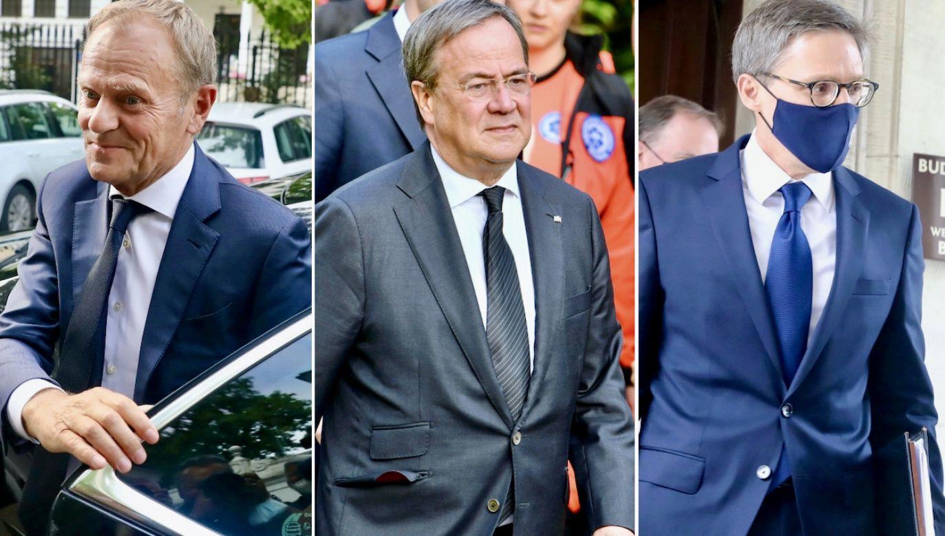 Donald Tusk, Armin Laschet, Derek Chollet (fot. PAP/Tomasz Gzell (2), PAP/Radek Pietruszka)