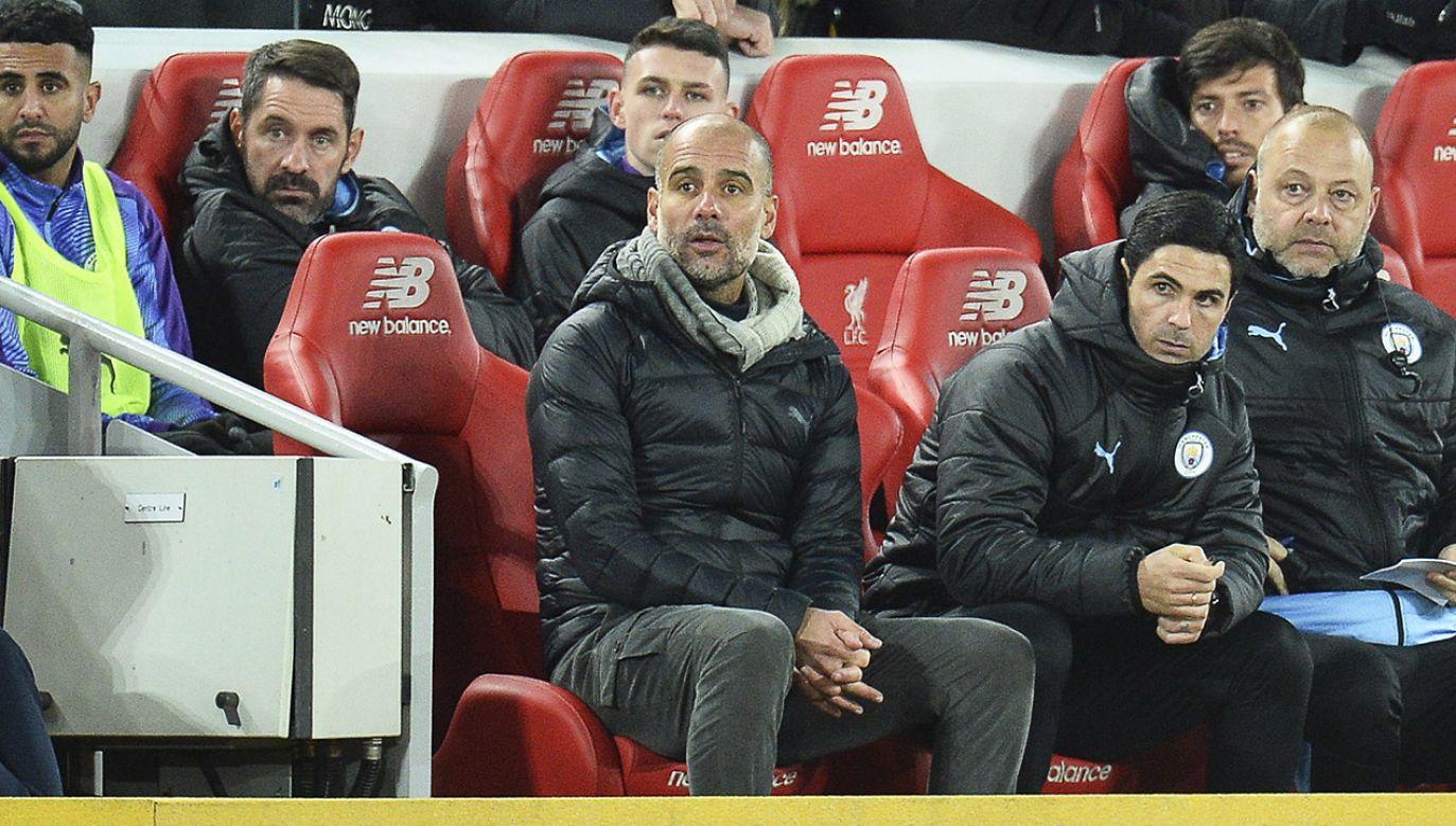 Pep Guardiola podziękował fanom Manchesteru City (fot. PAP/EPA/PETER POWELL)