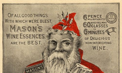 Tradycja – najpierw takiego elfa, skrzata lub dorosłego brodacza przybywającego z daleka z prezentami dla dzieci – jest zatem dopiero dziewiętnastowieczna i rozpowszechniła się w krajach anglosaskich, Niderlandach i Skandynawii. Miewał tak rumiane policzki, że można było się domyślać, iż nie raczy się tylko mlekiem czy – później – colą. Na zdjęciach reklama esencji wina Masona, Newball & Mason, Nottingham, około 1890 r. Fot. History of Advertising Trust / Heritage Images / Getty Images