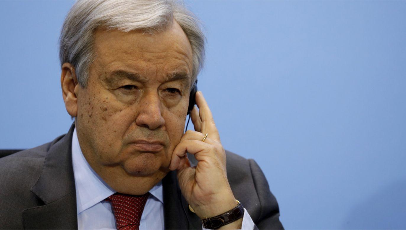 Sekretarz Generalny ONZ Antonio Guterres (fot. PAP/EPA/OMER MESSINGER / POOL)